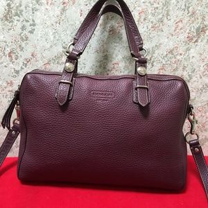 COACH Eggplant Leather NANCY Satchel w/Strap
